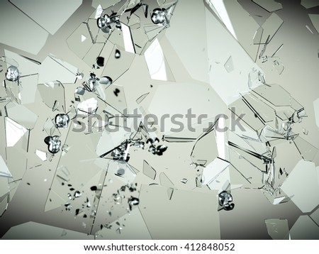 glass breaking and shatter with high resolution - stock photo