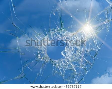 Glass  broken  automobile  cracks  hole - stock photo