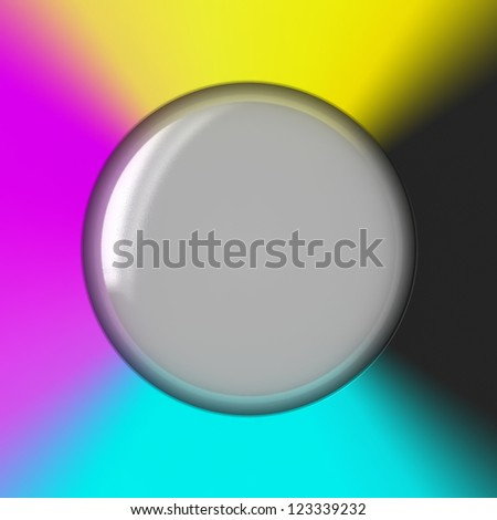 Glass bubble against CMYK background - stock photo