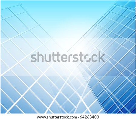 Glass building perspective. Raster version - stock photo
