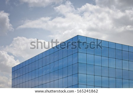 glass building with mirrors - stock photo