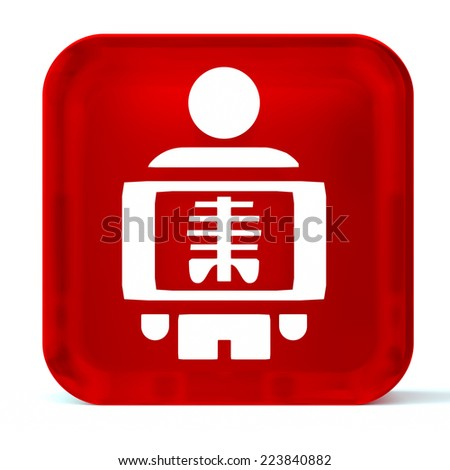 Glass button icon with white health care sign or symbol - stock photo