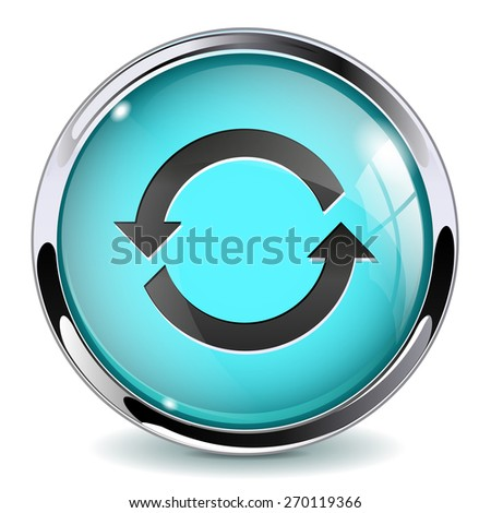 Glass button - Refresh. Round web media icon with metallic frame.  Isolated on white background. Raster version - stock photo