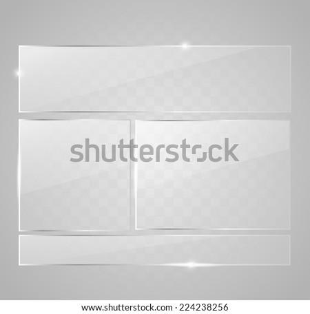 Glass button set - stock photo