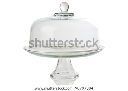glass cake stand on white