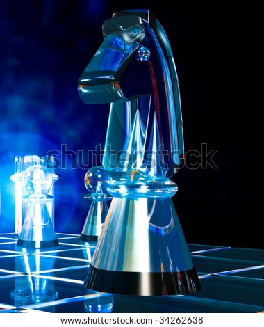 Glass chess piece, the Knight floats above the chessboard, ready to attack,close up illustration - stock photo