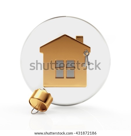 Glass Christmas ball with golden house isolated on a white background. 3D illustration