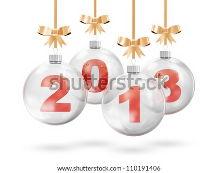 Glass Christmas Balls 2013 Hanging on Golden Ribbons isolated on white background - stock photo