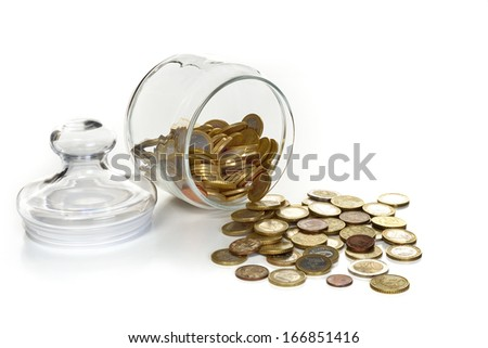 glass container with coins, figurative retirement savings