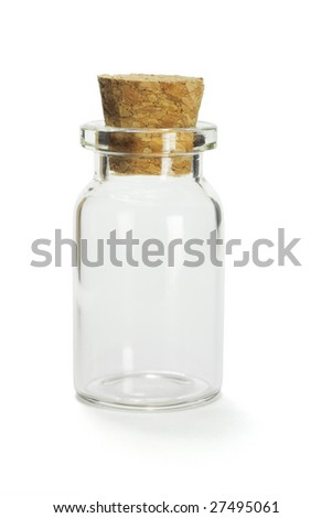 Glass container with cork stopper on white background