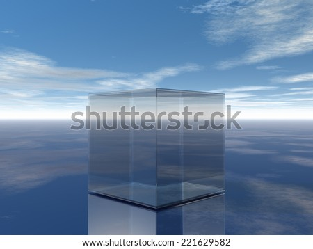 glass cube in desert under blue sky - 3d illustration - stock photo