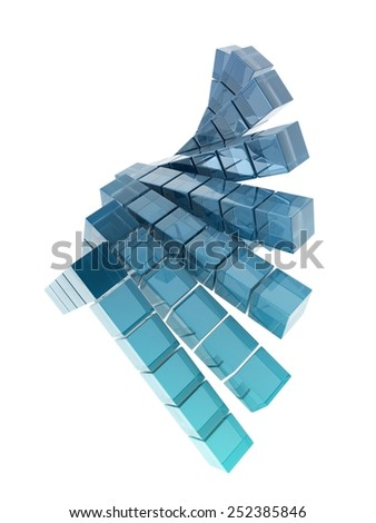 glass cubes on white background, digitally generated image