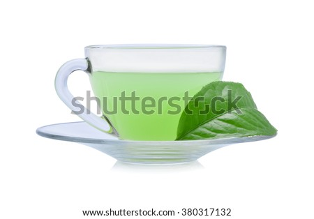 glass cup of green tea isolated on white background - stock photo