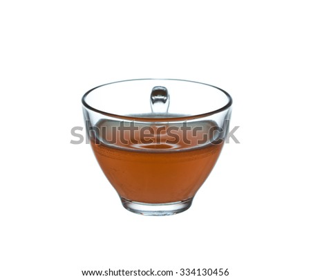 glass cup of tea isolated on a white background