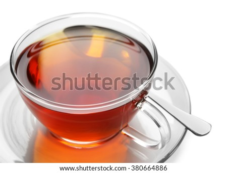 Glass cup of tea isolated on white background - stock photo