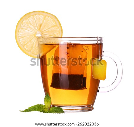 glass cup of tea with lemon and mint isolated on white background