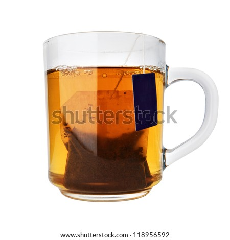 glass cup of tea with packet isolated on white