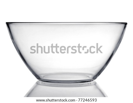 Glass dishware plate with reflection isolated on white background