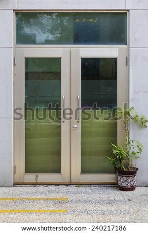 glass door of the office building - stock photo