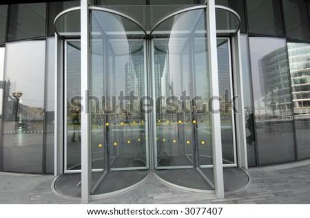 Glass Doors in Big Building - stock photo