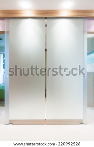 Glass double door in modern apartment's hall - stock photo