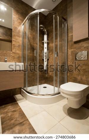 Glass douche and ceramic toilet in luxury bathroom - stock photo
