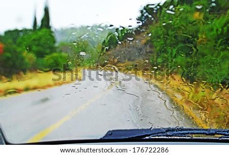 glass driver road rain - stock photo