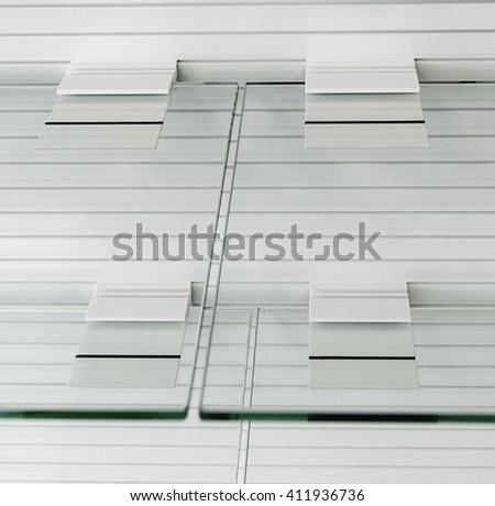 Glass empty shelves - stock photo
