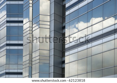 Glass facade of office building - stock photo