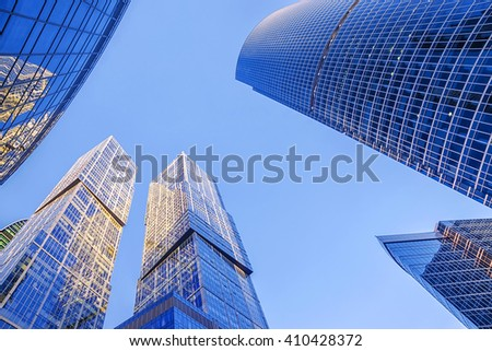 glass facades of skyscrapers - stock photo