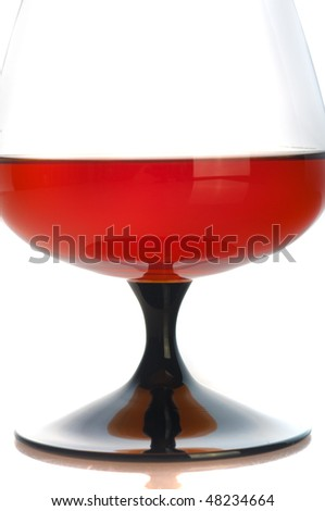 Glass filled with brandy