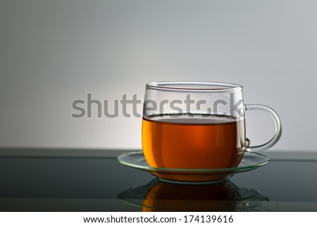 glass filled with tea and copy space