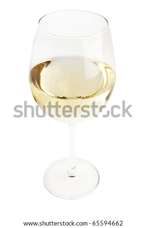 Glass filled with white wine, topshot isolated on white - stock photo