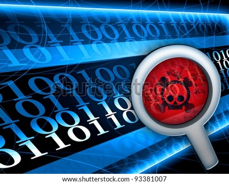 Glass focused on virus in digital code illustration - stock photo