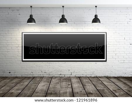 glass frame on brick wall - stock photo