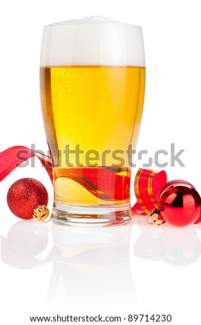 Glass fresh beer,  Red ribbon and Christmas Balls isolated on white background - stock photo