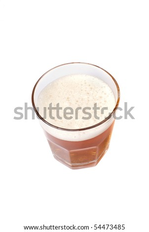 glass full of beer isolated on white background