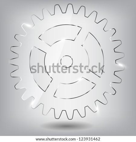Glass gear  illustration - stock photo