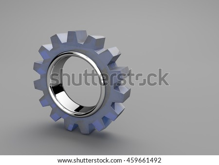 Glass gear wheel on the gray background. 3d illustration.