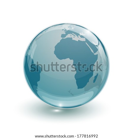 glass globe earth map 3d blue on white background - stock photo