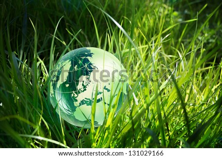glass globe in the grass - stock photo
