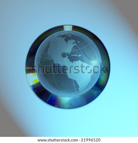 Glass globe of the World on a compact disk