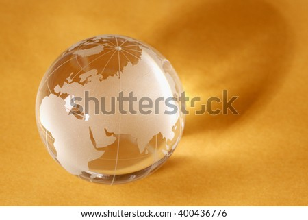 Glass globe showing the world