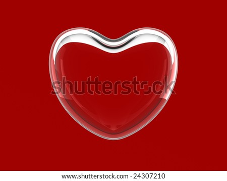 Glass heart on red background - stock photo
