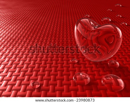 Glass heart with water drops - stock photo