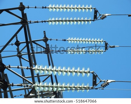 Glass insulators on electric pole