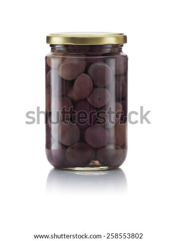 Glass Jar of Pickled Black Olives Isolated on White Background - stock photo