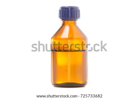 Glass jar with alcohol medicine on white background isolation