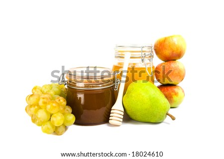 glass jar with foney isolated on the white background