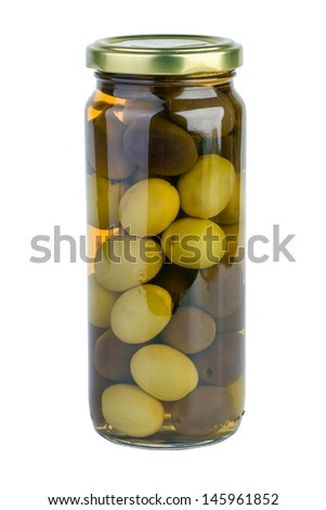 Glass jar with green and black olives  isolated on the white background - stock photo